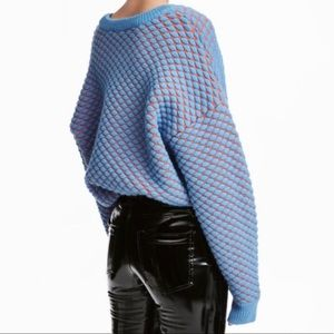 H&M Blue Orange Checkered Puff Stitch Crew Sweater